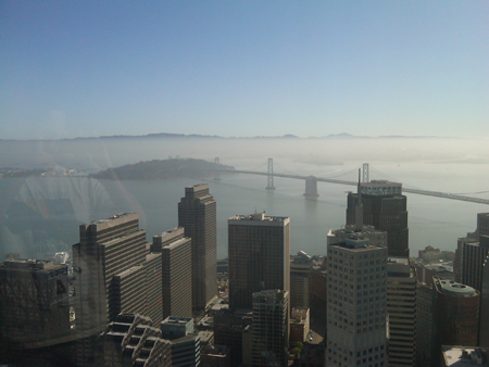 Bay Bridge viewed from Bank of America Building in San Francisco, CA