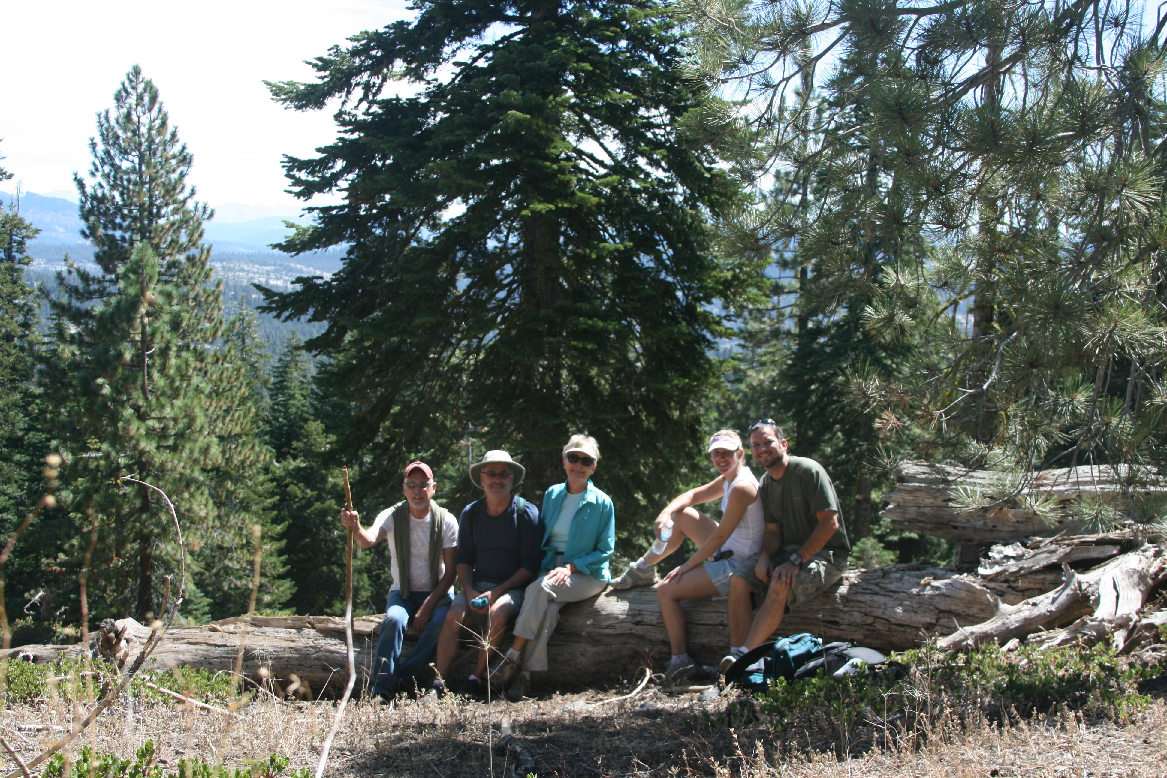 The whole family hiking in the Sierra's near Bear Valley, CA