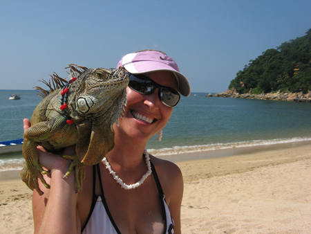 Erin Bibeau with an Iguana in Yelapa, MX