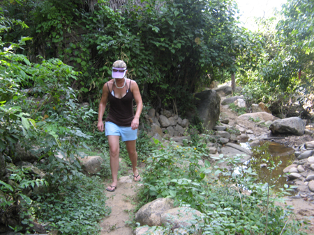 Erin Bibeau walking to waterfall at Yelapa, MX