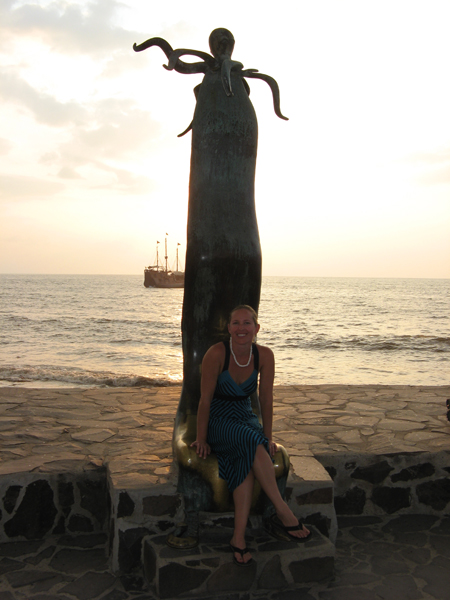 Erin Bibeau on the Malecon in Puerto Vallarta, Mexico