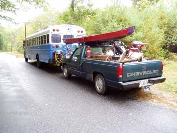 A school bus and pickup truck