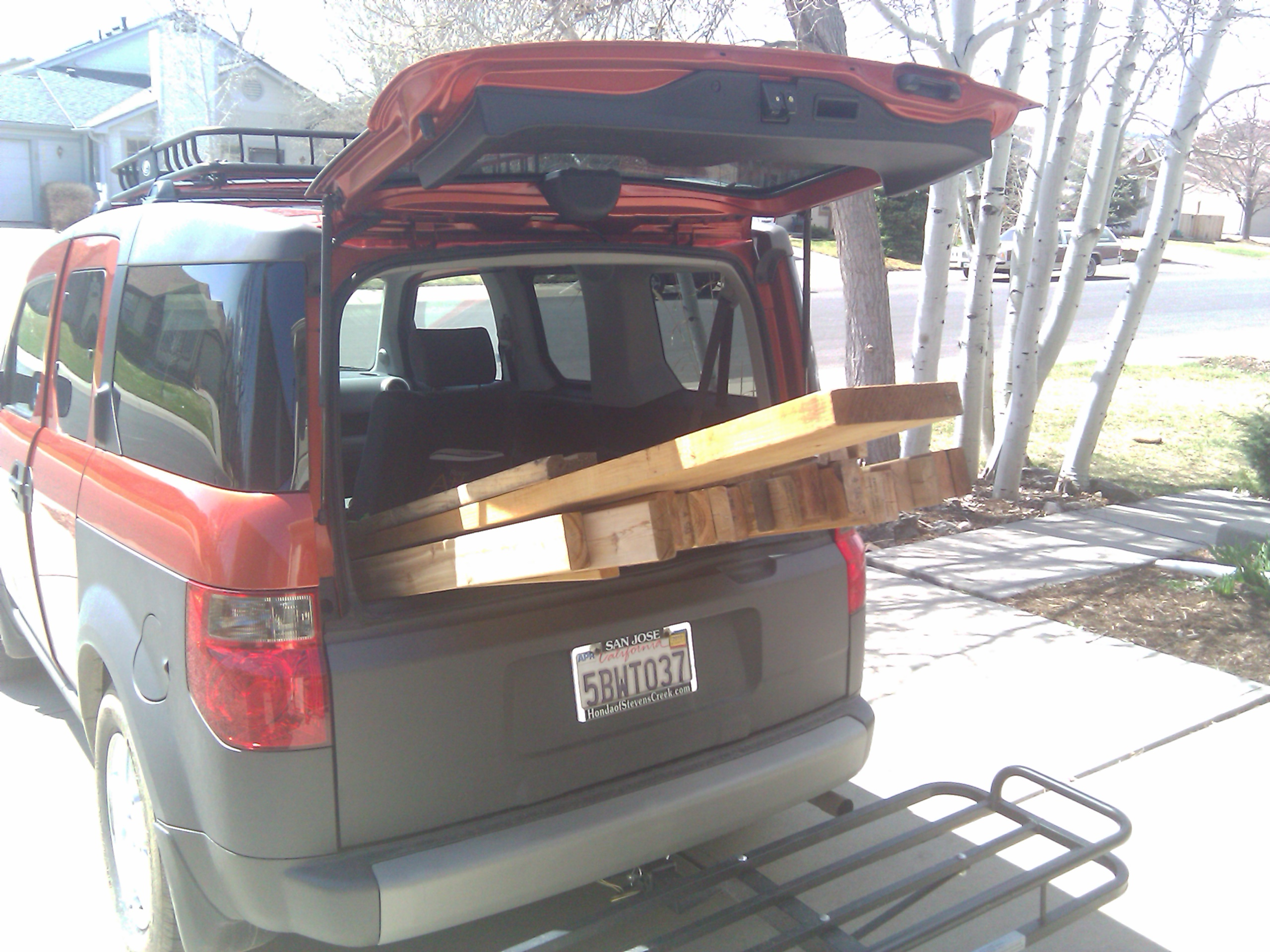 Hauling lumber in our Honda Element