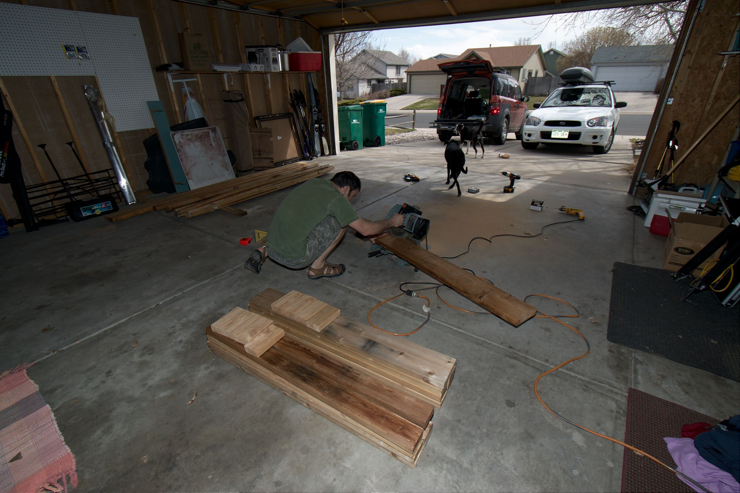 Building square foot garden boxes in the garage