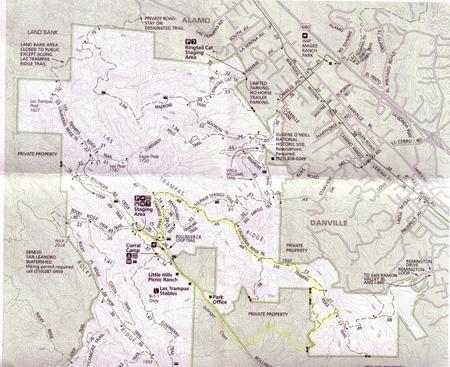map of Las Trampas Wilderness