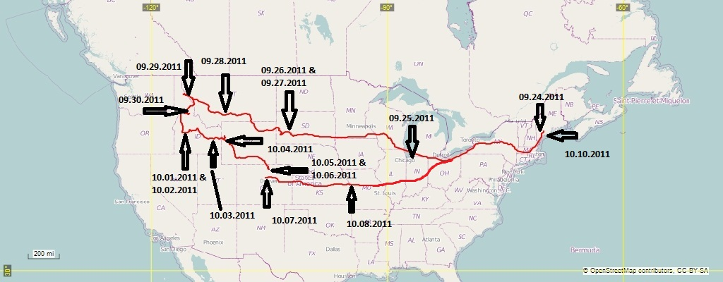 map of our bus trip